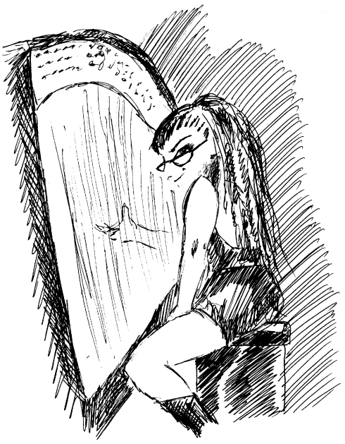 """Line drawing of DHC playing harp (artist name: """"Friday"""")"""